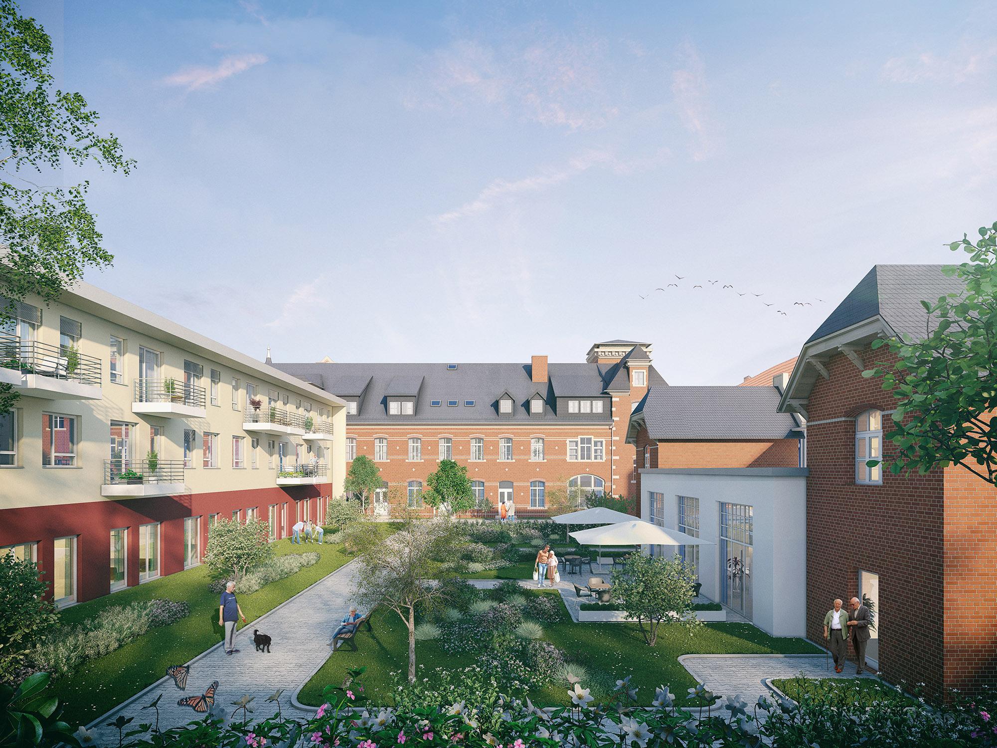 mojoimages architekturvisualisierung Advita Altenwohnen Immobilie Apolda Hof 2019